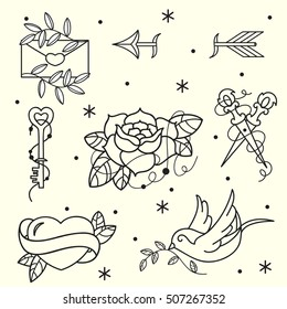 Set of old school tattoos. Hand drawn vector background.