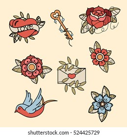 Set of old school tattoos. Hand drawn vector background. Tradition tattoo ink design.