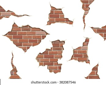 Set old shabby concrete and brick cracks. Vector separate elements for wall decor.  Vector illustration isolated, on white background.
