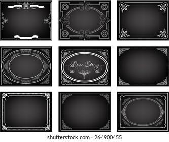 Set of old silent movie title frames. Vector backgrounds