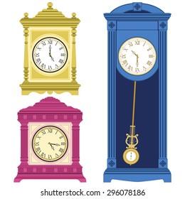 Set of old style clocks isolated on white background