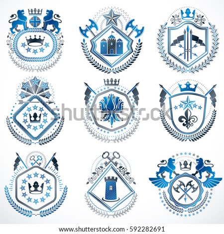 Set Old Style Heraldry Vector Emblems Stock Vector (Royalty