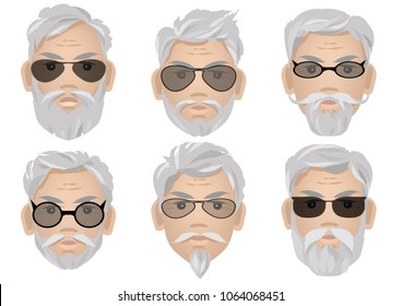 Set of old stylish gray haired mens in sunglasses. Vector illustration.