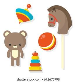 Set of old toys / flat editable vector illustration, clip art