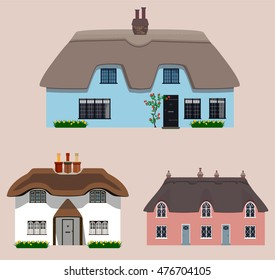 Set of old traditional English thatched cottages. Vector illustration