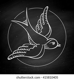 Set of old vintage object in engraving style. Icon bird for tattoo isolated on black chalkboard background. Hand drawn design and element. Vector Illustration