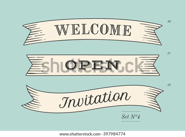 Set of old vintage ribbon banners and drawing in engraving style with word Welcome, Open and Invitation. Hand drawn design element. Vector Illustration