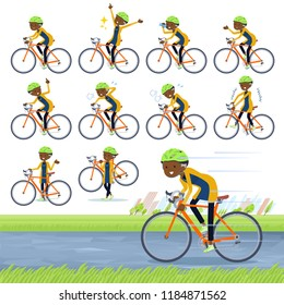 A set of old women on a road bike.There is an action that is enjoying.It's vector art so it's easy to edit.