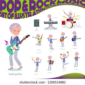 A set of old women playing rock 'n' roll and pop music.There are also various instruments such as ukulele and tambourine.It's vector art so it's easy to edit.