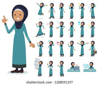 A set of old women wearing hijab with who express various emotions.There are actions related to workplaces and personal computers.It's vector art so it's easy to edit.