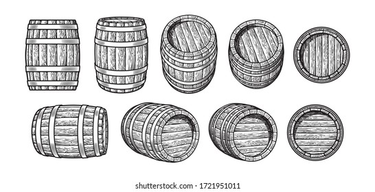 Set of old wooden barrels in different positions. Front and side view. Vintage engraving style. Black and white hand drawn vector illustrations isolated on white background.