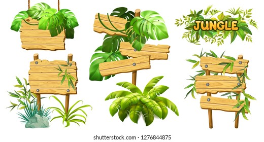 Set old wooden boards decorated leaves liana. Cartoon game panels in jungle style on white background. Isolated 3d vector illustration.