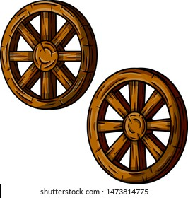 Set of old wooden cart wheels. Brown Detail of wagon with crack. Hand drawn cartoon illustration. Village vehicle in the wild West