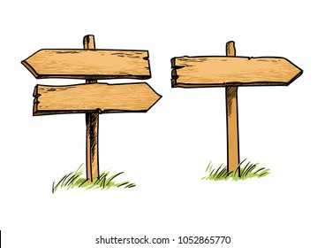 Set of old wooden direction signs. Double and single direction signs. Hand drawn vector illustration in sketch style isolated on white background.