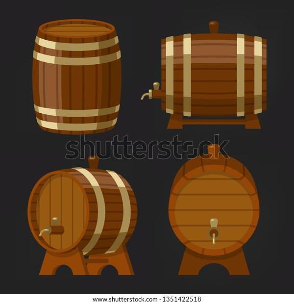 Set Old Wooden Wine Barrel Beer Stock Vector (Royalty Free
