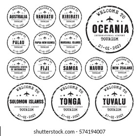 Set of old worn stamps passport with the name of the cores Oceania. Templates sign for the travel and airport. Vector illustration