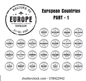Set of old worn stamps passport with the name of the European countries. Templates sign for the travel and airport. Part 1