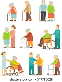 Set of older people in flat style. Elderly people in different situations with caregivers
