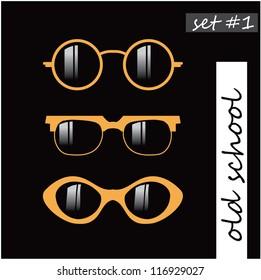 set of oldschool glasses silhouette