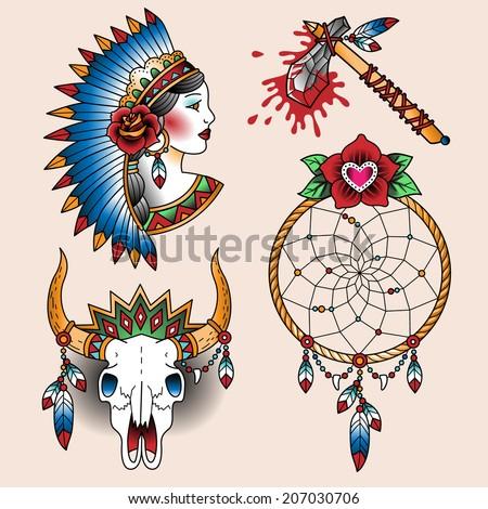 Set Oldschool Tattoos Native American Symbols Stock Vector Royalty
