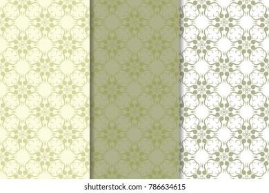 Set of  olive green floral backgrounds. Seamless patterns