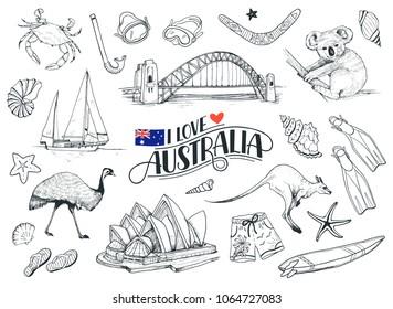 Set on hand drawn Australian symbols. Sketches of Australia opera, bridge, kangaroo etc isolated on white background. Vector illustration
