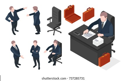 Set on isometric businessman in various poses, businessman sit on chair, man on work, advocate,