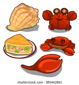 Set on the theme of crab. Vector illustration.