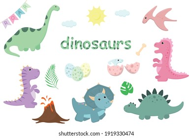 A set on the theme of dinosaurs, various dinosaurs, eggs, bones, sun, clouds, garland with flags, volcano, palm leaves. Vector illustration.