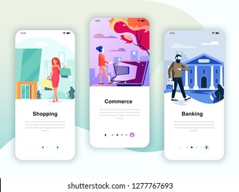 Set of onboarding screens user interface kit for Shopping, E-commerce, Banking, mobile app templates concept. Modern UX, UI screen template for mobile or responsive web site. Vector illustration.