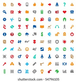 Set of one hundred multicolored icons for website interface, business designs, finance, security and leisure. Vector illustration.