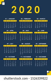 Set One Page 2020 Calendar with Correct Dates Navy and Gold A3 size vector