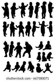 Set of one year old baby silhouette, baby, vector