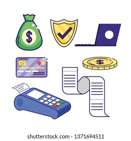 set online banking with electronic laptop and dataphone
