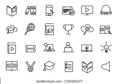 set online education icon template for graphic and web design collection. E-learning pack symbol logo vector illustration