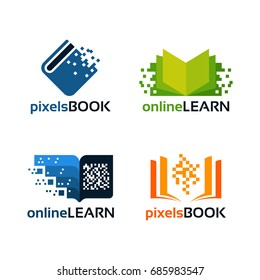 set of Online Education Logo template, pixel book education logo template designs vector illustration