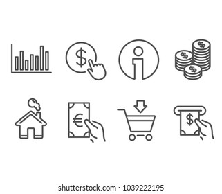Set of Online market, Finance and Coins icons. Bar diagram, Buy currency and Atm service signs. Shopping cart, Eur cash, Cash money. Statistics infochart, Money exchange. Vector