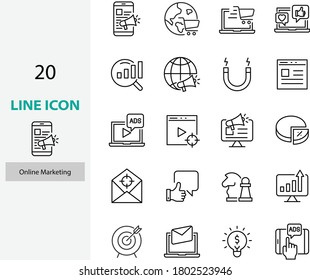 set online marketing line icons, ads, online, advertise