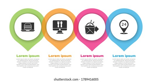 Set Online ordering burger delivery, Online ordering and delivery, Online ordering noodles delivery and Round the clock delivery. Business infographic template. Vector