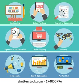 Set of online purchase, engineering, social media, seo search optimization, pay per click, analysis of documents, signature of the document, online shopping, delivery concepts items icons flat design