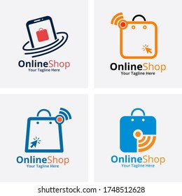 Set of Online Shop Logo designs Template. Illustration vector graphic of Shopping cart logo and shopping bags logo. Perfect for Ecommerce,sale, discount or store web element. Company emblem.