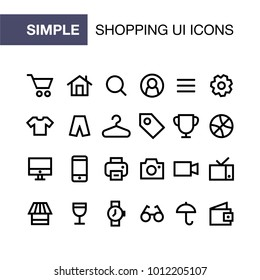 Set of online shopping icons for simple flat style ui design.
