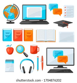 Set of online studying at home items. Distance education. Modern technologies using computer and internet.