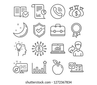 Set of Online survey, Idea and Approved documentation icons. Check investment, Report and Portfolio signs. Efficacy, Success and Online statistics symbols. Vector