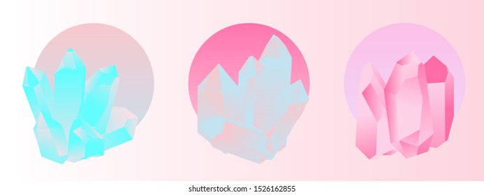 Set of opalescent holographic crystals. Vaporwave style vector illustration in punchy pastel tones.