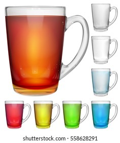 Set of opaque glass cups with multicolored drinks on white background