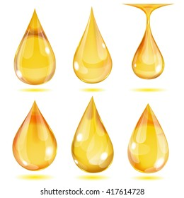 Set of opaque yellow drops on white background