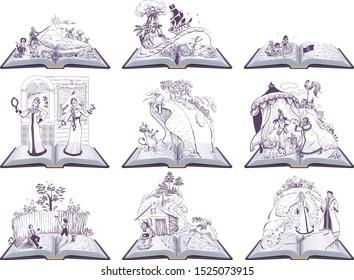 Set open book fairy tale illustration. Set of books to read at school. Isolated on white vector cartoon illustration