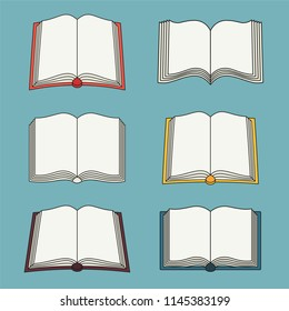 Set of open book icons. Can be used for bookstore or shop, library, educational or learning concept etc.