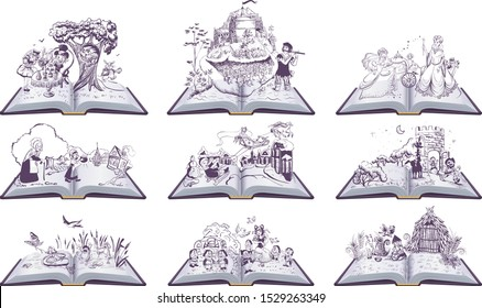 Set of open books fairy tales illustration. Cinderella, Inch, Snow Queen, Bremen Town Musicians. Isolated on white vector illustration